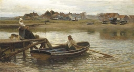 Artwork by Hamilton Macallum, Walberswick Ferry (1875), Made of oil on canvas