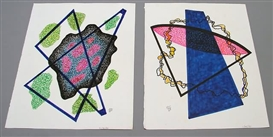 Artwork by Dwinell Grant, Two Non-Objective colored ink drawings, Made of colored ink