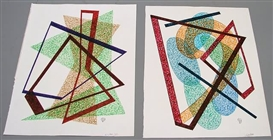 Dwinell Grant, Two Non-Objective colored ink drawings