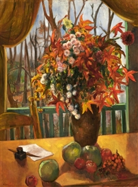 Artwork by Bernard Karfiol, Flowers on Balcony, Made of Oil on canvas