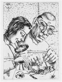 """Artwork by Johannes Wüsten, """"Wissenschaftler"""" (auch: """"Zoologen"""", """"Physiologen"""" oder """"Die Forschung""""), Made of copperplate engraving"""
