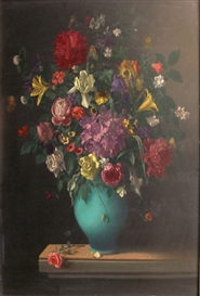 Artwork by Hans Maas, Bouquet de fleurs, Made of Oil on panel