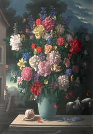 Artwork by Hans Maas, Bouquet de fleurs au coquillage, Made of Oil on panel