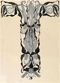 "Artwork by Otto Eckmann, 2 Bll.: Ornamententwurf für die ""Jugend""`, Made of Watercolored India ink drawings."