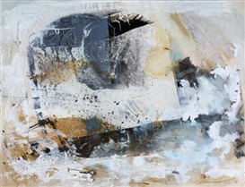 Artwork by Ian McKeever, HISTORY OF ROCKS, Made of oil and photographic collage on canvas