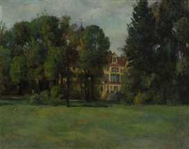 Artwork by Werner Paul Schmidt, Haus hinter Bäumen, Made of oil on canvas