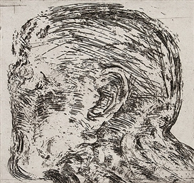Artwork by Emil Cimiotti, Kopf im Profil nach links., Made of etching and tone