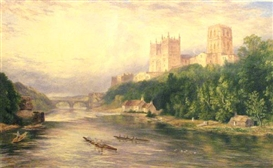 Artwork by John Henry Hill, A British Cathedral Overlooking a River, Made of watercolor on paper laid down on board