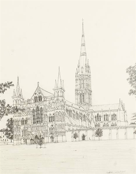 Salisbury Cathedral Facade Drawing