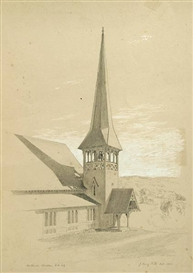 Artwork by John Henry Hill, Church Steeple