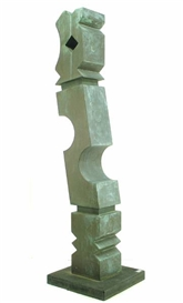 Artwork by Rod Kagan, Leaning Column, Made of bronze with green patina raised on a square bronze plith