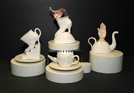 Lucian Octavius Pompili, Hand teapot; Renewing; Boot with hand; Teacup, saucer, and spoon (group of four)