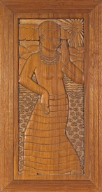 Artwork by Jacques Schnier, Woman Dancing, Made of carved wood