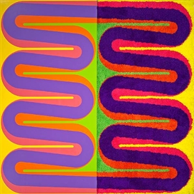 Artwork by Jim Isermann, Untitled, Made of enamel and acrylic on board; yarn shag on board (2 panels)