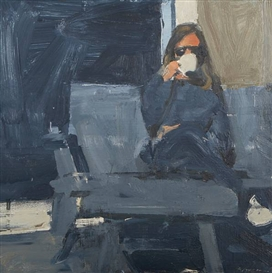 Artwork by Ben Aronson, Coffee Break, Made of oil on board