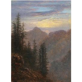 Artwork by Carl Gustav Carus, Abendliche Mittelgebirgslandschaft (Mountain Landscape at Dusk), Made of oil on canvas