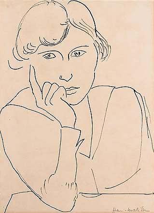 Artwork by Henri Matisse, portrait de femme, Made of Ink on paper; Pen and ink on paper