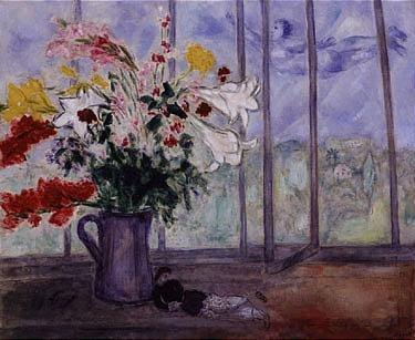 Marc chagall bouquet de fleurs devant une for Devant la fenetre