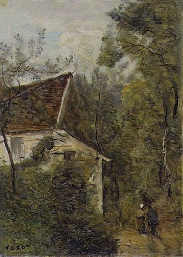 Artwork by Jean Baptiste Camille Corot, LUZANCY, LE CHEMIN DES BOIS, Made of oil on canvas