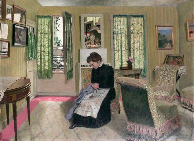 F lix vallotton chambre gris vert avec femme en - Chambre vert gris ...