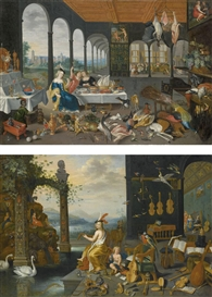 Jan Brueghel the Younger, AN ALLEGORY OF THE SENSE OF TASTE; AN ALLEGORY OF THE SENSE OF HEARING