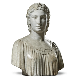 Artwork by Hiram Powers, A bust of a woman, possibly allegorical of America, Made of plaster with original metal pointing marks