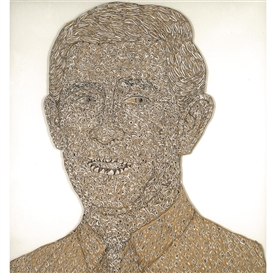Artwork by Hew Locke, THE PRINCE, Made of lead, paint and ink on cardboard