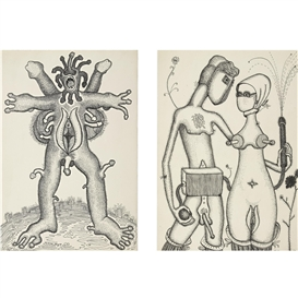 "Artwork by Vadim Sidur, Ten Drawings from the Series ""Mutations,"" 1969, Made of ink on paper"