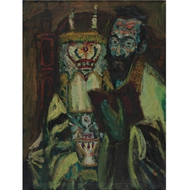 Artwork by Hyman Bloom, Rabbi with Torah, Made of oil on canvas