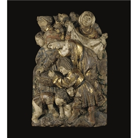 Jörg Lederer, a polychrome and giltwood relief of the gathering of Manna from Heaven