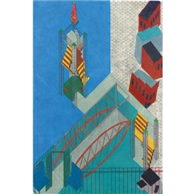 Artwork by Siah Armajani, City Center # 7: The Lighthouse and Bridge Staten Island, New York, Made of pencil and colored pencil on mylar
