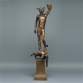 Artwork by Benvenuto Cellini, PERSEUS HOLDING THE HEAD OF MEDUSA, Made of bronze with brown patina