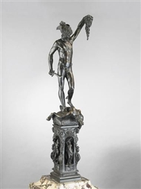 Benvenuto Cellini, [A BROWN PATINATED BRONZE FIGURE OF 'PERSEUS' ON A BRONZE BASE, ITALIAN, LATE 19TH CENTURY, AFTER BENVENUTO CELLINI]