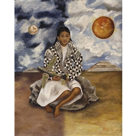 Artwork by Frida Kahlo, NIÑA TEHUACANA, LUCHA MARÍA (SOL Y LUNA), Made of oil on masonite