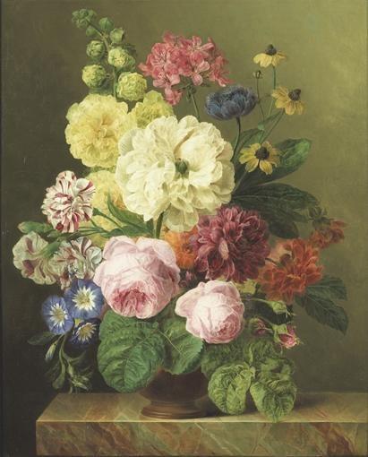 Jan Frans Van Dael Bouquet De Fleurs Sur Un Entablement