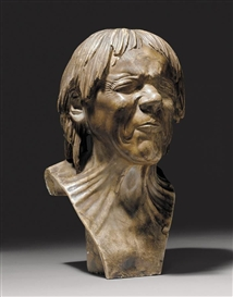 "Artwork by Franz Xaver Messerschmidt, AN IMPORTANT ALABASTER BUST OF THE SO-CALLED ""RESCUED FROM DROWNING, Made of white marble"