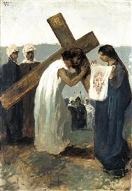 Artwork by Gaetano Previati, VIA CRUCIS, VI STAZIONE: IL VELO DELLA VERONICA, Made of olio su tela