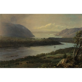 Artwork by Frederic Edwin Church, THE HIGHLANDS OF THE HUDSON RIVER, Made of oil on canvas