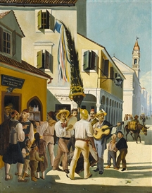 Artwork by Charalambos Pachis, MID-DAY ON CORFU, Made of oil on canvas