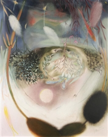 Artwork by Georg Muche, LIBELLE IM WASSERSPIEGEL (DRAGONFLY REFLECTION), Made of oil on canvas