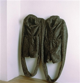 Artwork by Beverly Semmes, LITTLE GREY SUITS, Made of imitation lambs wool