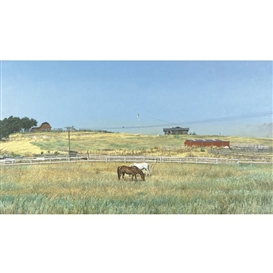 Artwork by Richard McLean, California Landscape with Fences, Made of oil on canvas