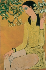 Artwork by Nguyen Trung, Lady With Champa Flowers, Made of lacquer on panel