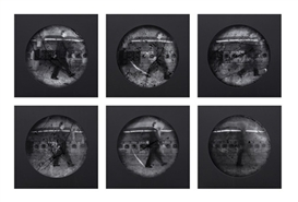 Artwork by Steven Pippin, Laundromat - Locomotion (Test Sequence), Made of Six gelatin silver contact prints.