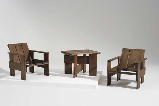 Artwork By Gerrit Rietveld, Pair Of U201cCrateu201d Lounge Chairs And U201cCrateu201d