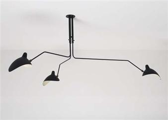 serge mouille three arm ceiling light 1958. Black Bedroom Furniture Sets. Home Design Ideas