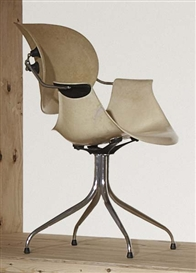 Artwork by George Nelson, 'MAA' or 'Swag leg' chair, Made of Chrome-plated steel, fibreglass, PVC, rubber.