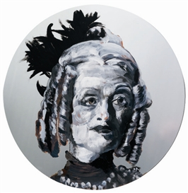 Artwork by Rachel Feinstein, Eileen, Made of Enamel on mirror.