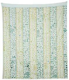 Artwork by Polly Apfelbaum, Green and Blue Dots , Made of Synthetic velvet and dye on printed cotton sheeting.
