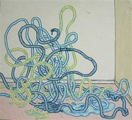 Artwork by Taylor McKimens, Cords, Made of Acrylic on paper collage on wood.